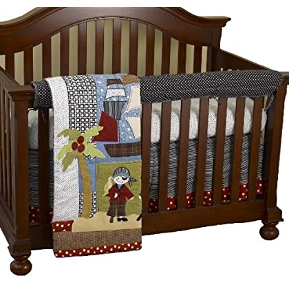 Image of Baby Cotton Tale Designs Front Crib Rail Cover Up Set, Pirates Cove