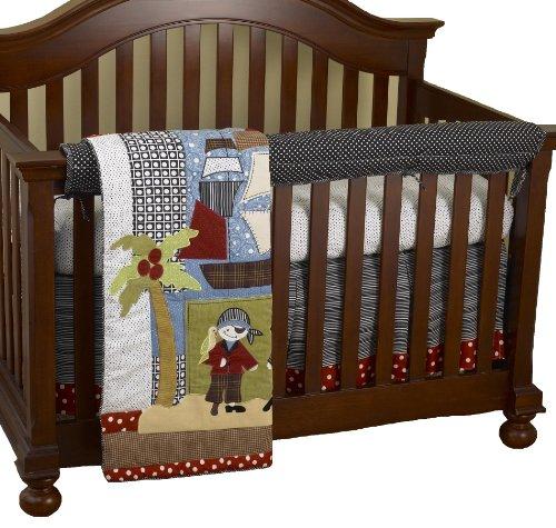 Cotton Tale Designs Front Crib Rail Cover Up Set, Pirates Cove
