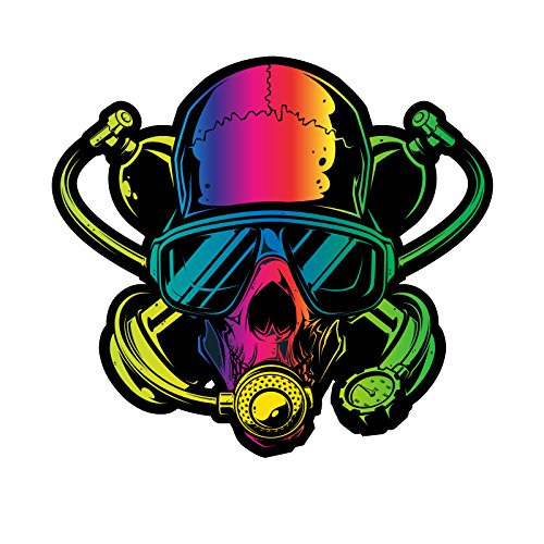 Scuba Diver Skull Rainbow Spectrum Decal For Your Car Or Truck - Interior Or Exterior Use - Made With Adhesive Vinyl In Full Color - Made In The USA (8 inch)