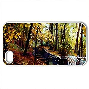 Autumn Park - Case Cover for iPhone 4 and 4s (Watercolor style, White)