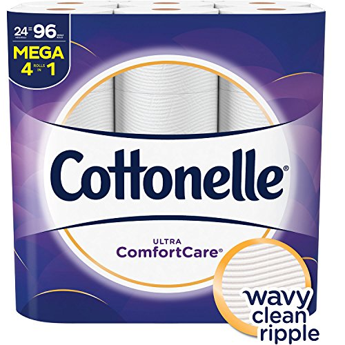 36 Ultra Bins - Cottonelle Ultra ComfortCare Toilet Paper, Soft Bath Tissue, Septic-Safe, 24 Mega Rolls