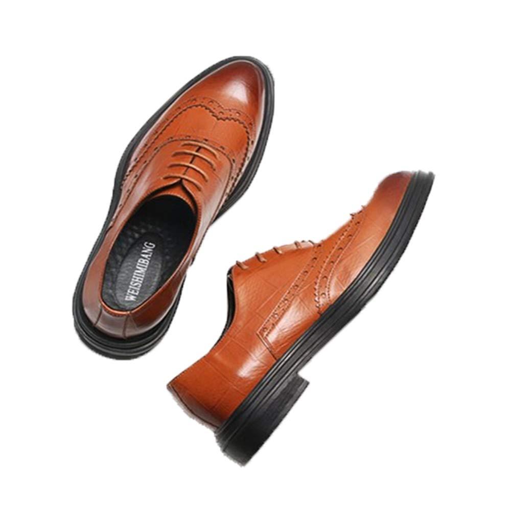 Ywqwdae Herren Schnürschuhe mit Flügelspitze, poliertes Lackleder, Klassische Schuhe, braun, EU 34
