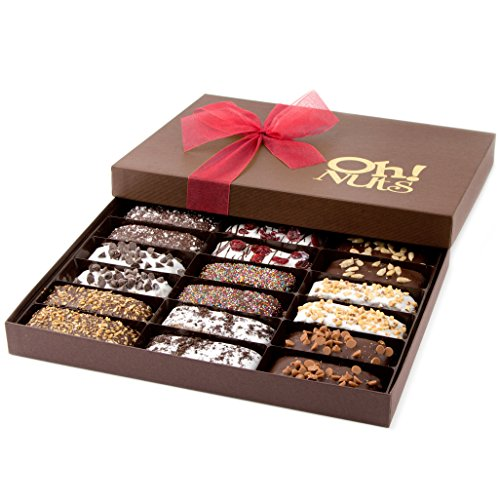 Chocolate Biscotti Cookie Gift Basket, Gourmet Gift Basket, Delicious Biscotti Covered in Dark Chocolate and Artfully Decorated 18 Count Gift Box – Oh! Nuts