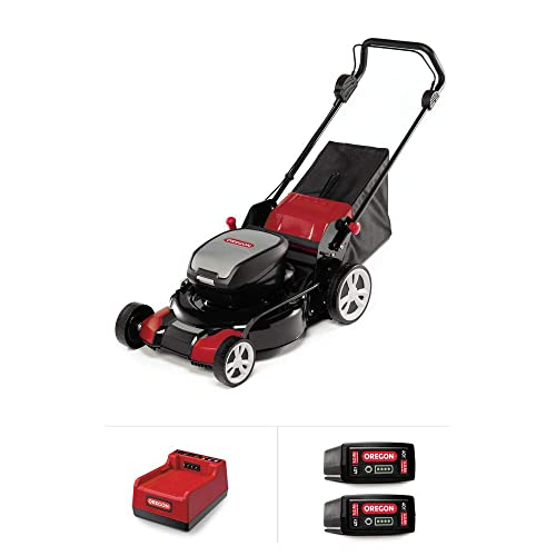 Oregon LM400 Cordless Lawnmower Kit with 2x 4.0 Ah Batteries and Rapid Charger