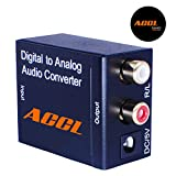 ACCL Digital Optical Coax to Analog R/L audio converter, Black, 15 Pack