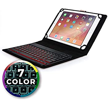 ... Keyboard case Compatible with Samsung Galaxy Book 10.6 | 2-in-1 Bluetooth Wireless Backlit Keyboard & Leather Folio Cover | 7 Color LED Keys (Rose Gold)