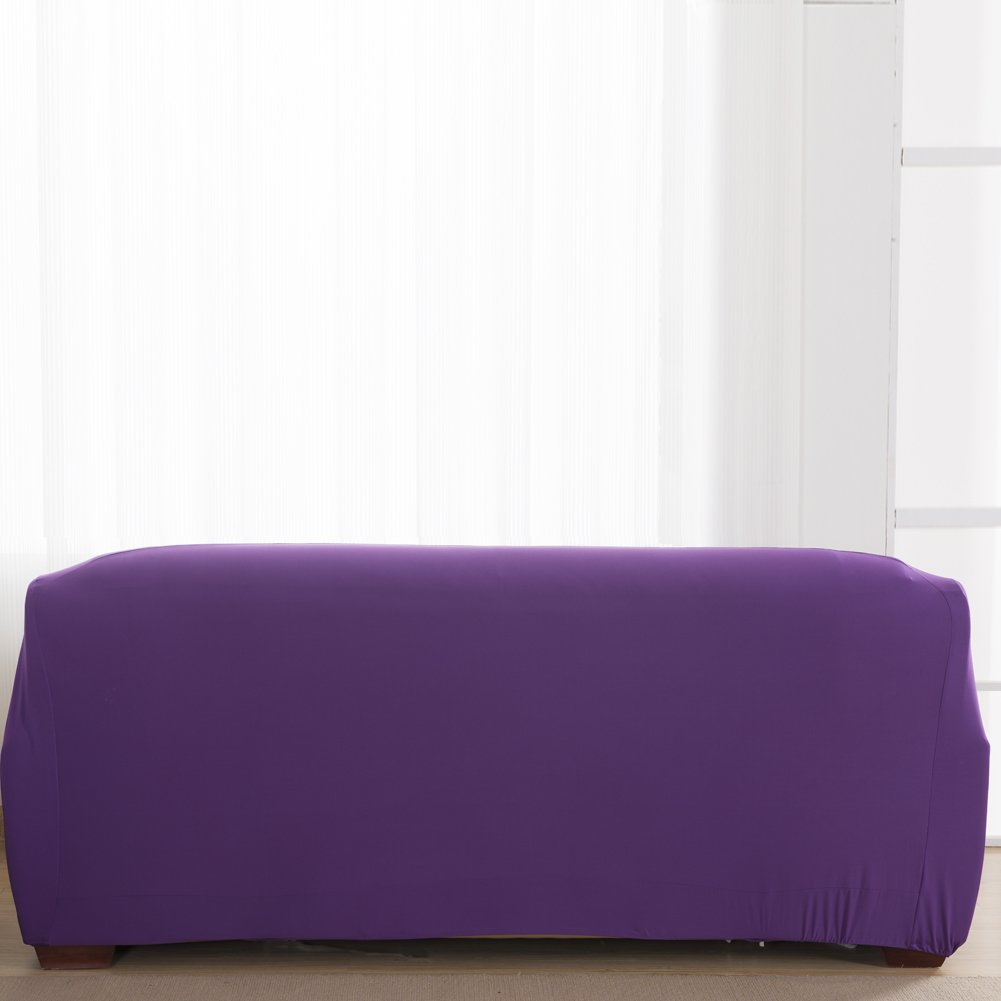 Vipeco Slipcover Stretchable Pure Color Sofa Cushion Covers (Loveseat Purple) by Vipeco (Image #4)