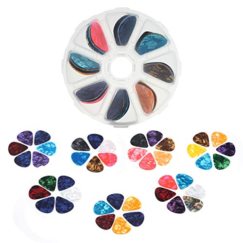 55 Pack Guitar Picks, Tifanso Colorful Guitar Plectrums Gift For Bass, Electric & Acoustic Guitars Includes Thin 0.46mm, Medium 0.71mm, Heavy 0.96mm with Pick Box