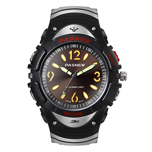 (HIwatch Boys Watches Classic Quartz Waterproof Simple Wrist Watch Sport Analog Watch with Multi Coloured Lights for Youth High School Students, Black)
