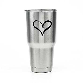 Heart love vinyl decal stickers for yeti tumbler 20 30 oz rtic ozark trail cup bottle