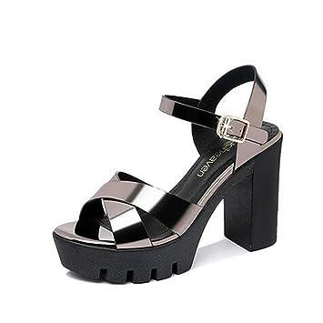 abc1268a Zapatos de Mujer Primavera y Verano Nuevos Tacones crudos Zapatos de Moda  Zapatos de Plataforma Zapatos de tacón Alto Mujer Sandalias (Color : Plata,  ...