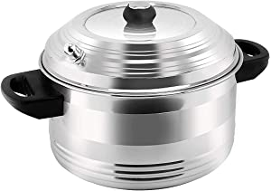 DEZEEN Stainless Steel 4-Plates Idly Cooker, Gas Stove Compatible Idli Maker (4-Plates | 16 IDLI)