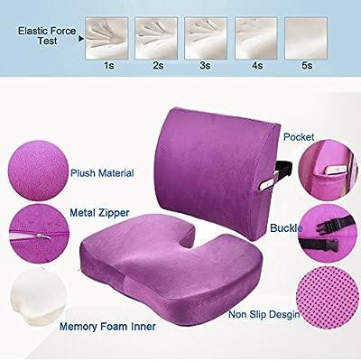 Amazon.com: Qutool Orthopedic Memory Foam Seat Cushion and ...