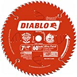 "Freud D0760A Diablo 7-1/4"" x 60-Tooth Ultra Fine Finishing Circular Saw Blade with 5/8"" Arbor and Diamond Knockout…"