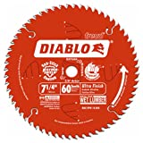 Freud D0760A Diablo 7-1/4' x 60-Tooth Ultra Fine Finishing Circular Saw Blade with 5/8' Arbor and Diamond Knockout Single Blade