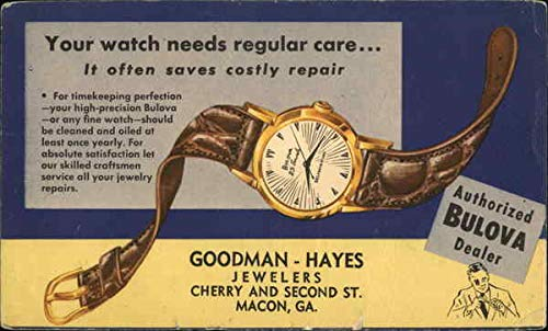 Vintage Advertising Postcard: Your Watch Needs Regular Care - Picture of a Watch with Brown Band from CardCow Vintage Postcards