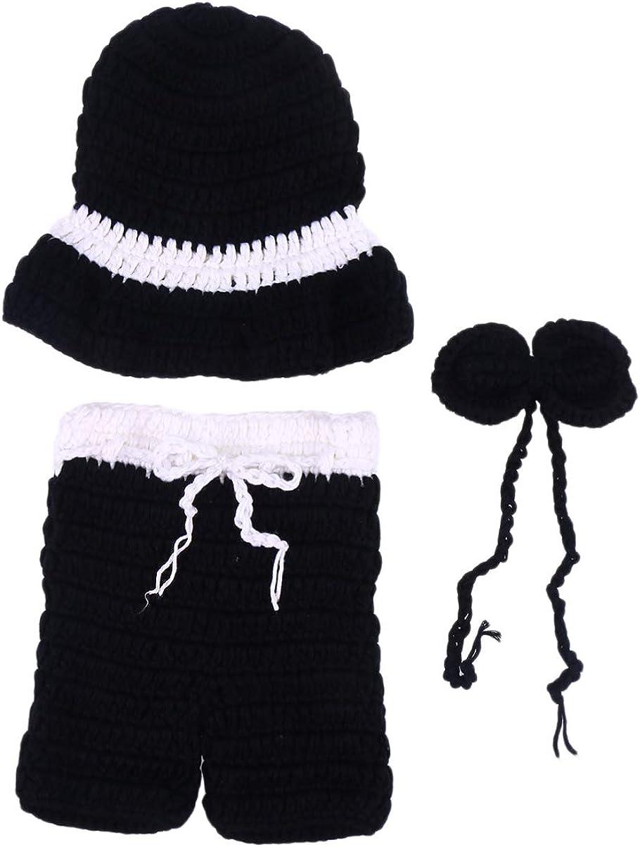 NUOBESTY Accesorios de fotografía de bebé de Navidad Sombrero de Punto Pantalones Traje de Traje Unisex niña niño Conjunto para Fiesta Festiva de año Nuevo (para recién Nacidos de 0-6 Meses)
