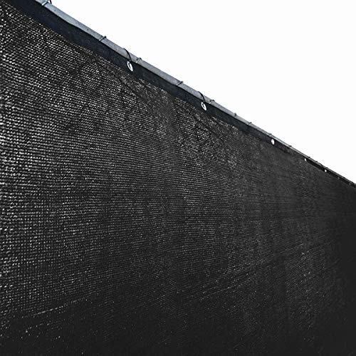 ALEKO PLK06150ABLK Fence Privacy Screen Outdoor Backyard Fencing Windscreen Shade Cover Mesh Fabric with Grommets 6 x 150 Feet Black