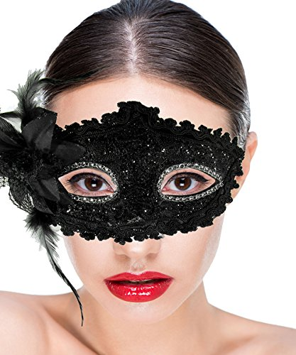 Halloween Dance Party Costumes (Women Costume Masquerade Mask With Flower For Halloween, Mardi Gras, Holiday Parties, School Dance and Balls)