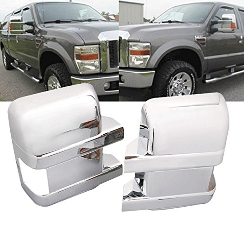 (New 2Pcs Chrome ABS Side Door Full Mirror Covers For 08 09 10 11 12 13 14 15 16 Ford F250 F350 F450 Super Duty)