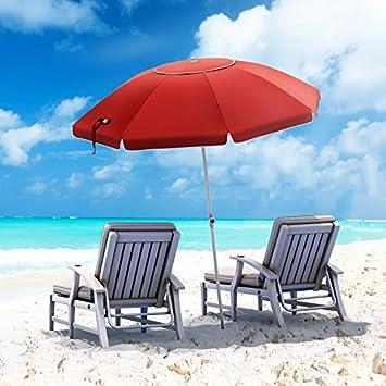 SONGMICS 7 Feet Fiberglass Beach Umbrella, Heavy Duty Outdoor Sports Umbrella, Sun Shade with Tilt Mechanism, Carry Bag – for Beach, Gardens, Balcony and Patio Red UGPU07RD