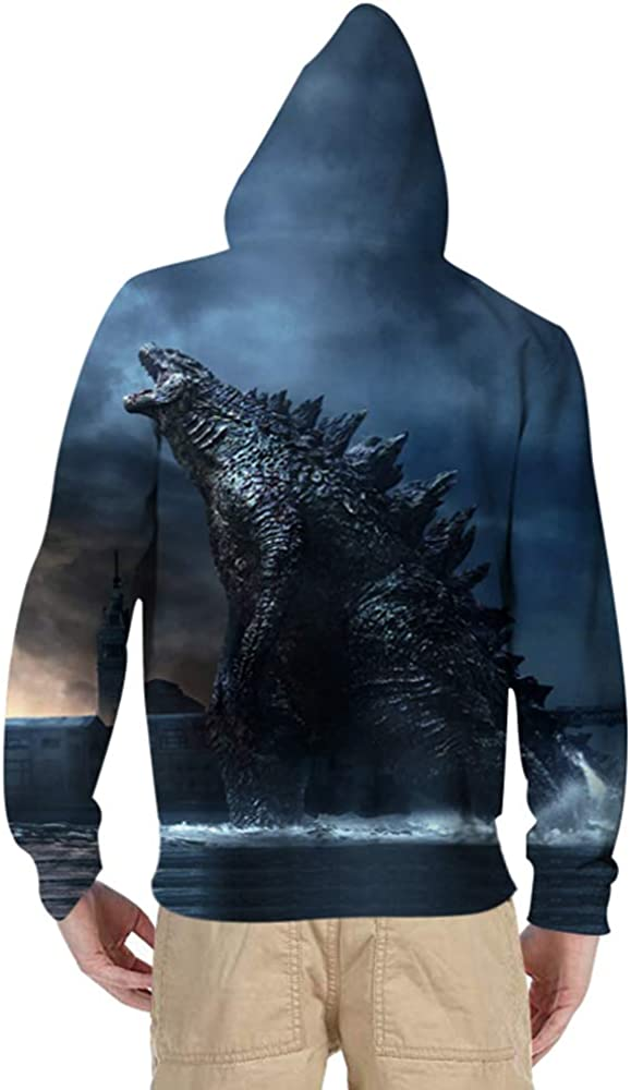 Godzilla a maniche lunghe motivo Felpa con cappuccio per bambini con stampa 3D