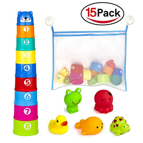Holybird Bath Toys and Stacking Cups Baby Toys (15 Pack) for Toddlers, Early Educational Toddler Toys with Bath Toy Organizer, BPA Free Recommended Baby Toys for 0 1 2 3 ()