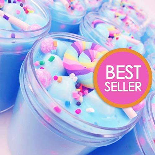 iWeller 2018 Jumbo Blue Unicorn Birthday Candy Cake Fluffy Cloud Slime Scented Therapeutic Putty, Cotton Candy Slime Supplies Stress Relief Toy Scented Sludge Toy for Girls and Boys 4 OZ.