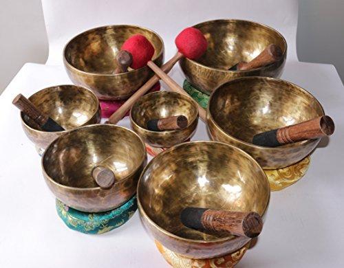 chakara singing bowl healing-mediation-perfect mediation chakara set hand hammered singing bowl -made in nepal by Npcarft (Image #3)