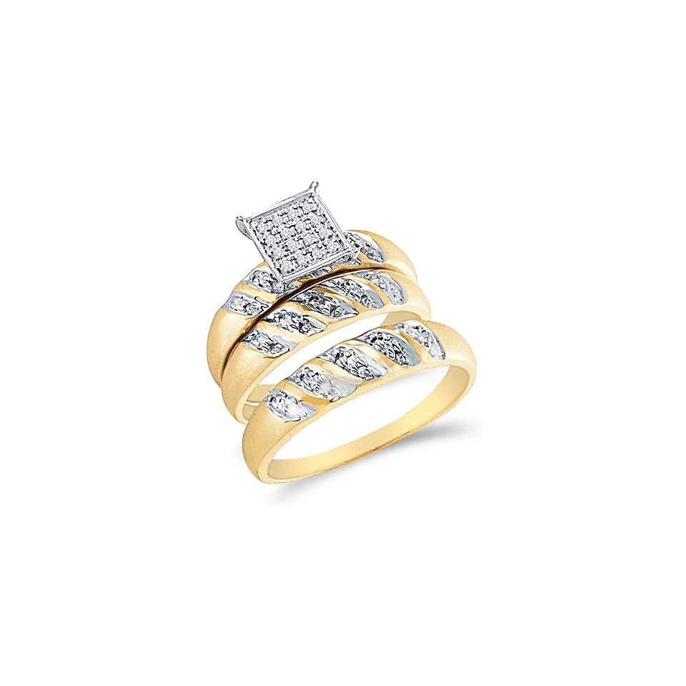 10k Yellow and White 2 Two Tone Gold Mens and Ladies Couple His & Hers Trio 3 Three Ring Bridal Matching Engagement Wedding Ring Band Set   Round Diamonds   Micro Pave Princess Shape Center Setting (.08 cttw) Jewelry