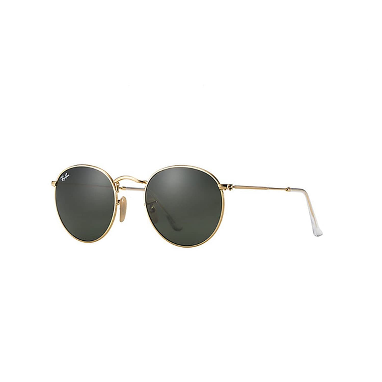 ray ban golden frame glasses  amazon: ray ban round metal arista frame crystal green lenses 50mm non polarized: ray ban: clothing