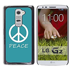 Graphic4You Peace Sign Design Thin Slim Rigid Hard Case Cover for LG G2 (Turquoise)