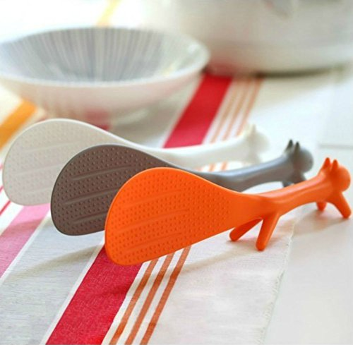 AKOAK 3 Piece Creative Household Kitchen Tools,Lovely Squirrel Shape Standing Spoon Non-stick Rice Spoon Fashion Rice Cooker Dishes Filled Scoop Shovel -  XLL000951