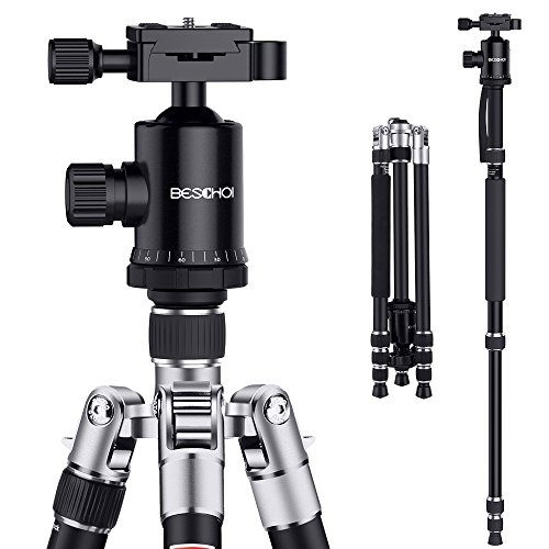 Camera Tripod, Beschoi 66″ Professional Aluminum Tripod Protable Travel Tripod Monopod with 360° Ball Head and Carry Bag for Digital Camera/Camcorder / DSLR/SLR / Video Cameras