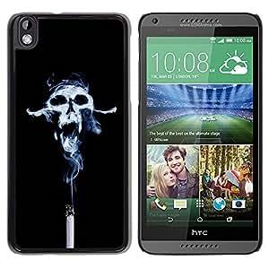 TopCaseStore / la caja del caucho duro de la cubierta de protección de la piel - Design Smoke Skull - HTC DESIRE 816