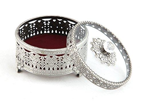 Vintage Round Jewelry Decorative Trinket Box Ring box Antique Metal Case 4.7 inch (Tin (Matt Gray), Medium) (Trinket Tin)