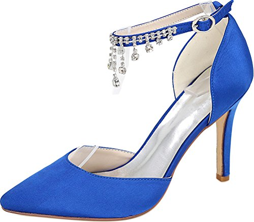 Eu 5 Dress Ladies Blue Party Rhinestone Bride Strap Toe Mid Bridesmaid 22l Ankle Pumps Heel 37 Wedding Noble Pointed 0608 Satin TxRHn