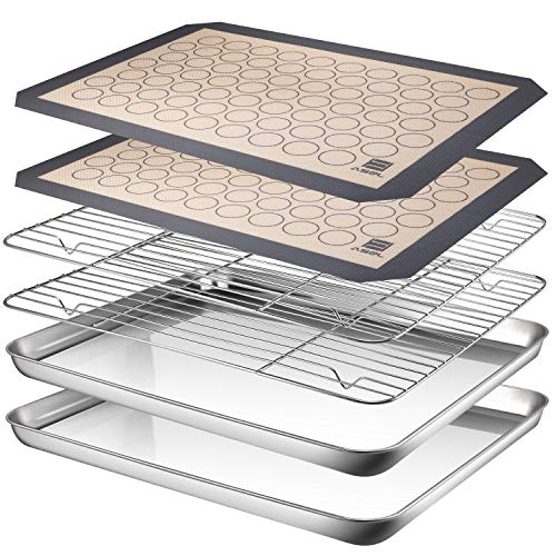 ASEL Stainless Steel Baking Pans Tray Cooling Rack with Silicone Mat, Non Toxic & Healthy, Superior Mirror Finish & Easy Clean, 2 Baking Sheets + 2 Mats + 2 Baking Rack