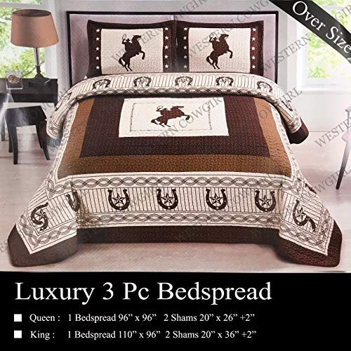 Western Peak 3 Pcs Western Texas Star Cabin Lodge Barbed Wire Luxury Quilt Bedspread Comforter Brown Beige (Oversized Queen)
