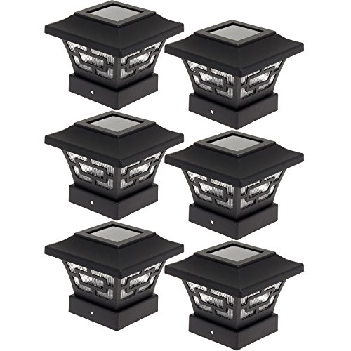 Westinghouse Hilltop 20 Lumens Solar Fence Post Cap Lights for 4x4 Wood Posts (Black, 6 Pack) (Solar Lights Deck Post)