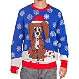 Flappy Dog Animated Puppy Ears Ugly Christmas Sweater (Adult Large)