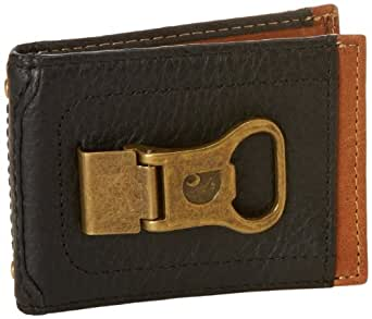 Carhartt Men's Long Neck Wallet With Bottle Opener Money Clip, Black/Tan, One Size