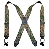 CTM Men's Elastic 2 Inch Wide Camouflage Button-End Suspenders, Camouflage