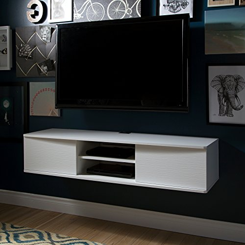 South Shore 9029676 Floating Wall Mounted Media Console, Pure White, 56