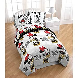Amazon Com New Disney Minnie Mouse Twin Size Bed In A Bag 4 Piece Bedding Set With