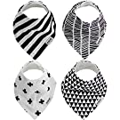 "Baby Bandana DROOL BIBS for Boy or Girl, 4-PACK Absorbent ORGANIC Cotton, Cute and Modern Baby Gift Set ""GEOMETRIC"" by Two Tree Baby"