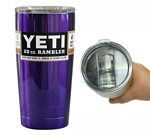 YETI Coolers 20 Ounce (20oz) (20 oz) Custom Rambler Tumbler Cup Mug with Exclusive Spill Resistant Lid and Bottle Opener Keychain (Candy Purple)
