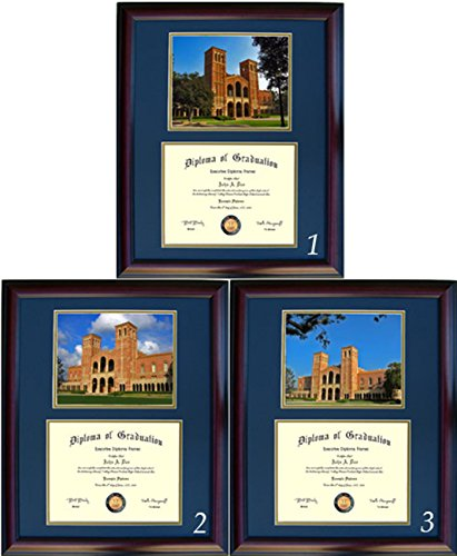 UCLA Diploma Frame - Photo Option #1 - Walnut Frame (Glass Ucla Art Bruins)