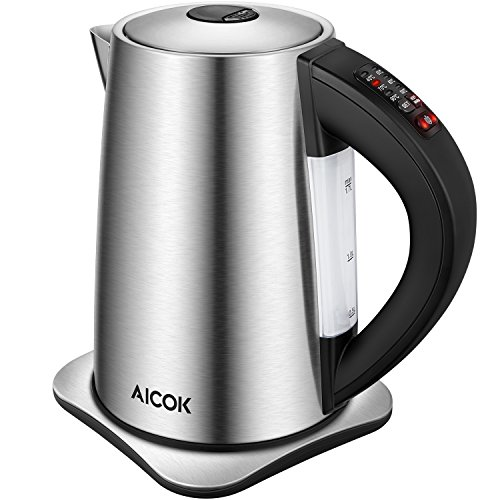 AICOK Electric Kettle Temperature Control Kettle with Keep Warm Function, 3000W High Power for Fast Heating Electric Tea Kettle, Stainless Steel Kettle 1.7L, Cordless Kettle Auto Shut-Off