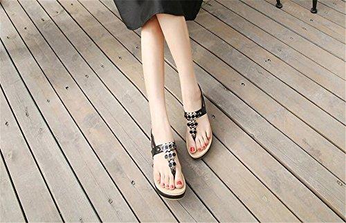 Beach Shoes Flops T Walking Black Comfort Summer Flip Sandals Women Bohemia Flat Strap PEIwF